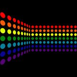 Dotted Background. Rainbow dots / pixels with reflection on black background royalty free illustration