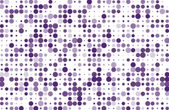 Dotted background with circles, dots, point different size, scale. Halftone pattern. Violet color Vector illustration Royalty Free Stock Image