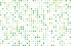 Dotted background with circles, dots, point different size, scale. Halftone pattern. Green on white color Vector illustration. Dotted background with circles Stock Images