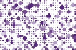 Dotted background with circles, dots, point different size, scale Halftone pattern Purple, violet color Vector illustration Royalty Free Stock Photos