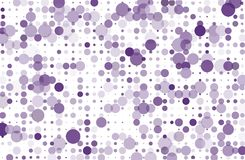 Dotted background with circles, dots, point different size, scale. Halftone pattern Vector illustration  Violet, purple color Stock Photos