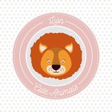 Dotted background with color frame decorative and face lion cute animal text. Vector illustration Royalty Free Stock Photo