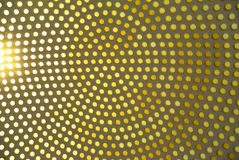 Dotted background of the colorful circles, pastel yellow geometric pattern. Stock Photos