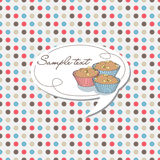 Dotted background with cupcake label Royalty Free Stock Photography
