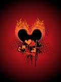 Dotted background with grungy burnt heart Stock Photos