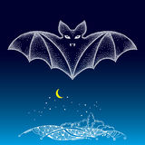 Dotted bat in white over land. Halloween background with traditional symbol. Royalty Free Stock Photography