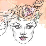 Dotted beautiful girl face on the textured beige background with roses and blots. Royalty Free Stock Images