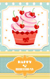 Dotted birthday card with red cupcake with cream Royalty Free Stock Photo