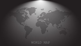 Dotted blank black world map  on grey background. Royalty Free Stock Image