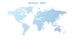 Dotted blank blue world map isolated on white background. Stock Images