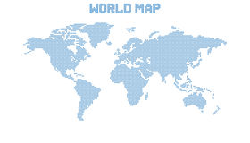 Dotted blank blue world map isolated on white background. Royalty Free Stock Photo