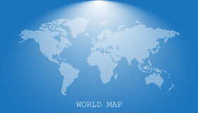 Dotted blank white world map  on blue background. Stock Image