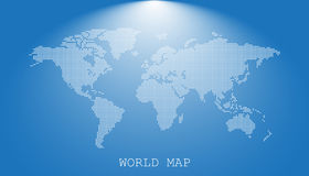 Dotted blank white world map isolated on blue background. World. Map vector template for website, infographics, design. Flat earth world map with round dots vector illustration