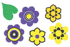 Dotted bloom icons Royalty Free Stock Photo