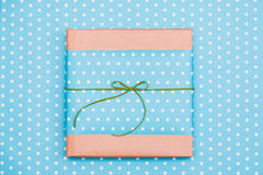 Dotted blue gift box Stock Image