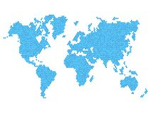 Dotted Blue World Map Isolated on White. Vector Stock Photo