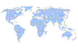 Dotted Blue World Map on White Background. Vector Royalty Free Stock Photography