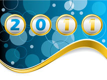 Dotted blue year counter. With gold wave Stock Photo