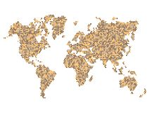 Dotted Brown World Map Isolated on White. Vector Royalty Free Stock Photo