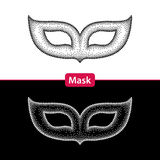 Dotted carnival mask in black and in white isolated. Stock Photos