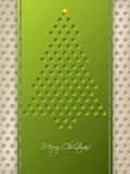 Dotted christmas greeting with green ribbon Stock Images