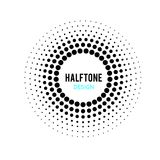 DOTTED CIRCLE. HALFTONE DESIGN ELEMENTS. ISOLATED VECTOR ON WHITE BACKGROUND. DOTTED CIRCLE IN WHIRL. TWIST ROUND. SHADOW POINT. HALFTONE DESIGN. BANNER royalty free illustration
