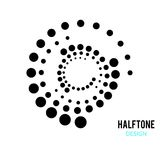 WHIRL DOTTED CIRCLE. HALFTONE DESIGN ELEMENTS. ISOLATED VECTOR ON WHITE BACKGROUND. DOTTED CIRCLE IN WHIRL. TWIST ROUND. SHADOW POINT. HALFTONE DESIGN. BANNER royalty free illustration