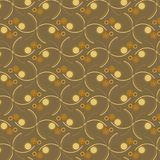 Dotted circles and curved lines in a pattern over a golden brown background. Vector repeating pattern of curved lines intersecting with Biege and orange circles Royalty Free Stock Photos