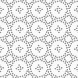 Dotted circles and small crosses. Abstract geometric background. Gray seamless pattern. Monochrome texture.Dotted circles and small crosses Stock Illustration