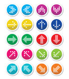 Dotted colorful arrows round icons set isolated on white Stock Photography
