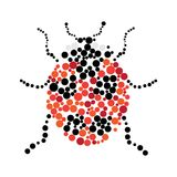 Dotted colorful ladybug silhouette Stock Image