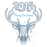 Dotted deer head with numbers 2016 and snowflakes  on white background. Winter greeting card in dotwork style. Stock Photos