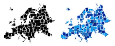 Dot Europe Map with Blue Variant. Dotted Europe map variants. Abstract geographic scheme version done with cold blue color tones. Vector composition of Europe royalty free illustration
