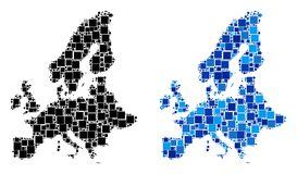 Dotted European Union Map with Blue Version. Dotted European Union map variants. Abstract geographic map variant designed with cold blue color tones. Vector vector illustration