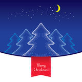 Dotted five Christmas trees with moon and stars on the blue background.  Royalty Free Stock Photo