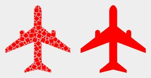 Dot and Flat Vector Airplane Icon. Dotted and flat airplane icons. Vector mosaic of airplane constructed of irregular small squares and spheric elements royalty free illustration