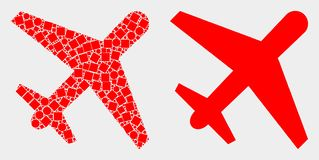 Pixelated and Flat Vector Airplane Icon. Dotted and flat airplane icons. Vector mosaic of airplane organized of irregular square dots and spheric dots vector illustration