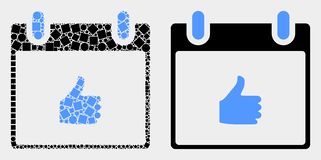 Dot and Flat Vector Thumb up Calendar Page Icon. Dotted and flat thumb up calendar page icons. Vector mosaic of thumb up calendar page composed of scattered royalty free illustration