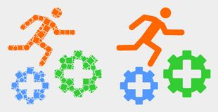 Dotted and Flat Vector Running Patient on Gears Icon. Pixel and flat running patient on gears icons. Vector mosaic of running patient on gears combined of stock illustration