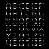 Dotted font. Letters with dots. Template for drill holes or lights layout. White on black background stock illustration