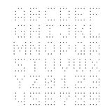 Dotted font. Letters with small dots. Template for drill holes or led lights stock illustration