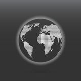 Dotted globe map. Vector abstract white dotted globe map isolated on dark background Stock Images