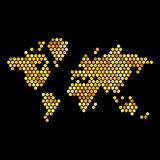 Dotted Gold Colors World Map Isolated on Black Royalty Free Stock Image