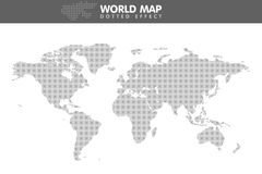 Dotted gray world map. Small dot. Vector illustration Stock Photos