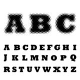 Dotted halftone alphabet. Vector illustration. Black dotted halftone alphabet. Vector illustration. Abstract abc in flat design stock images