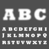 Dotted halftone alphabet. Vector illustration Stock Image