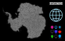 Dotted Halftone Antarctica Map. Bright pixel halftone Antarctica map. Geographic map in bright color tones on a black background. Vector concept of Antarctica vector illustration