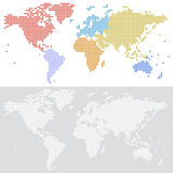 Dotted halftone Vector map of the world Stock Images