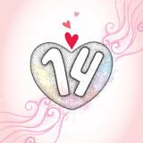 Dotted heart and numbers 14 on the pink textured background with swirls and blots. Traditional background for Valentine day in dotwork style vector illustration