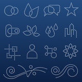 Dotted icons and shapes Royalty Free Stock Photo